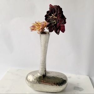 "Silver Hammered Metal Asymmetrical Bud Vase 8"""